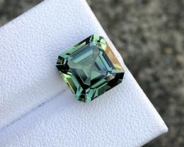 5.69 ct  Asscher Cut Green Tourmaline