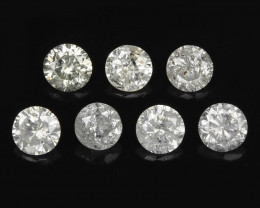 Diamond 0.34 Cts 7 Pcs Untreated Fancy White Color Natural
