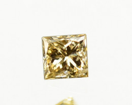 ~UNTREATED~ 0.07 Cts Natural Diamond Fancy Champagne Princess Cut Africa