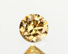 0.19 Cts Natural Untreated Diamond Fancy 3.50mm Round Brown Cut Africa