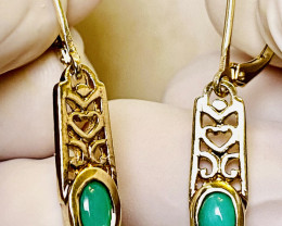 17.25 CT -  EARRINGS- WITH  CHRYSOPRASE FROM AUSTRALIA    , SILVER    UNUSE