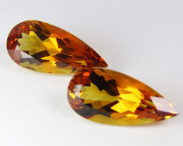 12.20Cts Wow Amazing Natural Citrine Pear Shape Collection Pair REF VDO