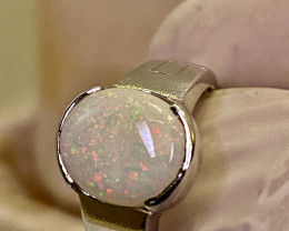 22.4 CT - RING WITH OPAL- AUSTRALIA-SILVER  FROM COLLECTOR- UNUSED!