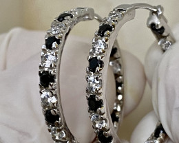 30.6CT -  EARRINGS- WITH  BLACK SPINEL-ZIRKON-SILVER GOLD PLATED   , SILVER
