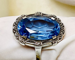 23.7CT - RING WITH  BLUE TOPAZ- FROM COLLECTOR-OLD HANDMADE