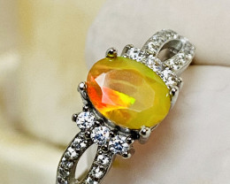 OPAL FACETING, ZIRKON, SILVER GOLD PLEATED RING WITH  , FROM COLLECTOR- UNU