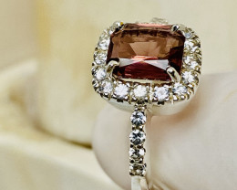 SPINEL- CEYLON WHITE SAPPHIRE SILVER GOLD PLATED RING FROM COLLECTOR- UNUSE