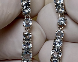 AQUAMARINE EARRINGS- , SILVER    GOLD PLATED UNUSED - COLLECTION!
