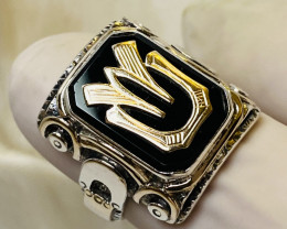 ONYX GOLD-SILVER MAN  RING WITH  , FROM COLLECTOR- UNUSED!