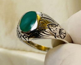 Green CHRYSOPRASE RING WITH SILVER FROM COLLECTOR- BEAUTIFUL OLD WORK