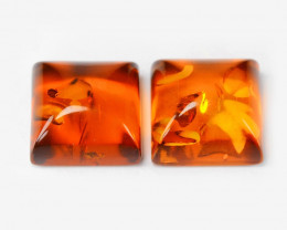Baltic Amber 1.49 Cts 2 Pcs Golden Orange Color Natural