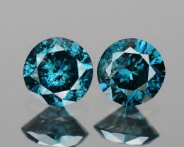 Diamond 0.20 Cts 2pcs Sparkling Rare Fancy Blue Color Natural
