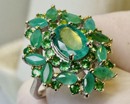 EMERALD RING WITH  , SILVER GOLD PLATED- FROM COLLECTOR- UNUSED!