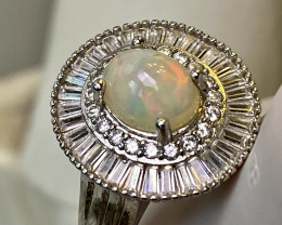 OPAL, CUBIC ZIRCONIA ( BEST QUALITY) SILVER GOLD PLATED RING WITH  , FROM C