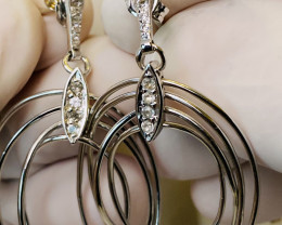 WHITE SAPPHIRE EARRINGS- , SILVER   GOLD PLATED  UNUSED - COLLECTION!