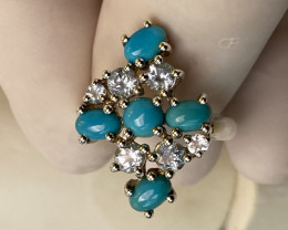 TURQUOISE RING WITH AQUAMARINE SILVER GOLD PLATED   , FROM COLLECTOR- UNUSE