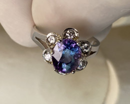 SAPPHIRE RING WITH WHITE SAPPHIRE, SILVER GOLD PLATED- FROM COLLECTOR- UNUS