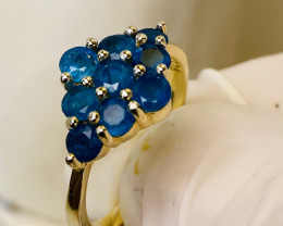 APATITE BLUE RING WITH SILVER GOLD PLATED  , FROM COLLECTOR- UNUSED!