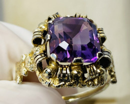 AMETHYST RING WITH SILVER  , FROM COLLECTOR- OLD HANDMADE