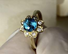 BLUE APATITE RING WITH WHITE SAPPHIRE- SILVER GOLD PLATED FROM COLLECTOR- U