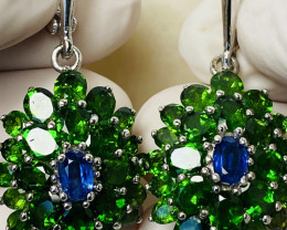 CHROME DIOPSIDE AND SAPPHIRE EARRINGS- , SILVER GOLD PLATED    UNUSED - COL