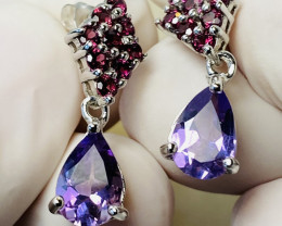 AMETHYST AND GARNET EARRINGS- , SILVER GOLD PLATED-UNUSED - COLLECTION!