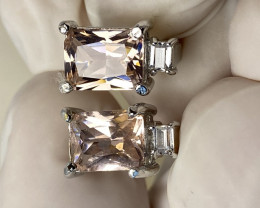 TOURMALINE AND ZIRKON EARRINGS- , SILVER    GOLD PLATED- UNUSED - COLLECTIO