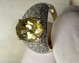 LEMMON APATITE RING WITH ZIRKON- GOLD!!   , FROM COLLECTOR- UNUSED!