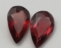 Rhodolite pair, 1.645ct, pear cut, great stones waiting for jewelry!