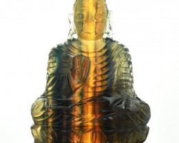 Genuine 1070.00  Cts Multicolor Fluorite Hand Carved Buddha