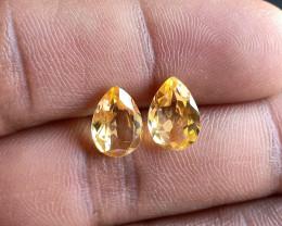 Lemon Quartz Pair 100% Natural+Untreated Gemstones VA4457