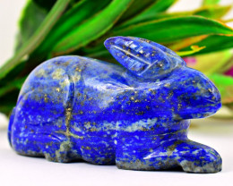 Genuine 409.00  Cts Lapis Lazuli  Hand Carved Bunny