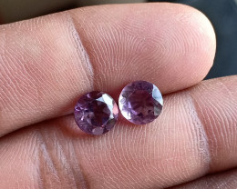 AMETHYST PAIR TOP QUALITY GENUINE GEMSTONES 7mm Round VA4469