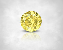 NO RESERVE 0.09 ct. Fancy Vivid Yellow Natural Diamond Round 2.7mm