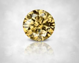 NO RESERVE ! 0.18 ct. 3.65 mm Fancy Golden Yellow Natural Diamond Round