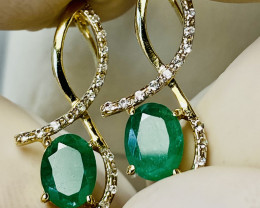 EMERALD, ZIRKON PENDANT or EARRINGS- , gold plated SILVER    UNUSED - COLLE