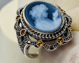 AGAT CARVING, MARCASITE CITRIN SILVER RING WITH  , FROM COLLECTOR- UNUSED!