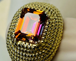 MYSTIC TOPAZ RING WITH SILVER GOLD PLATED- FROM COLLECTOR- UNUSED!