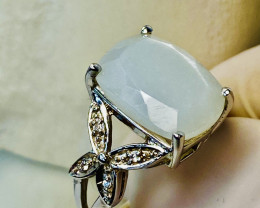 WHITE MOONSTONE WITH ZIRKON!! Silver- RING WITH  , FROM COLLECTOR- UNUSED!