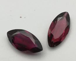 Rhodolite pair, 1.42ct, navette or marquise cut, beautiful stones!