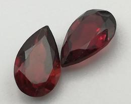 Rhodolite pair, 2.125ct, pear shape, shining stones full colour!