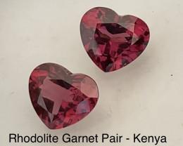 Pretty Pair of Rhodolite Heart Shape Garnet Pair - Kenya