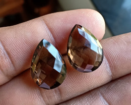 Smoky Quartz Checkered Cut Pair 100% Natural Gemstones VA4506