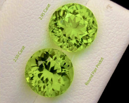 Parrot Green Color 5.50 Ct Natural Round Pair Top Quality Peridot