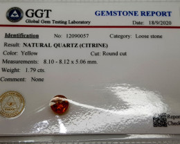 1.79Crt Certified Madeira Citrine Natural Gemstones JI01