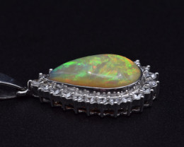 Natural Welo Opal, White Sapphire and 925 Silver Pendant (Hand Made)