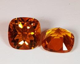 Parcel Pair of 3.95 ct Collector's Gem Cushion Cut Natural Citrine