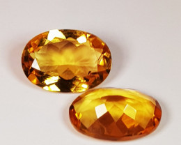 Parcel Pair of 3.53 ct Top Luster Gem Oval Cut Natural Citrine