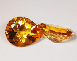 Parcel Pair of 3.92 ct Top Quality Excellent Pear Cut Natural Citrine