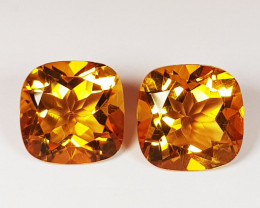 Parcel Pair of 3.38 ct Collector's Gem Cushion Cut Natural Citrine